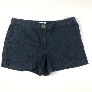 Ann Taylor LOFT Dark Blue Flat Front Denim Shorts